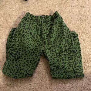 Bershka Green leopard cargo pants BRAND NEW